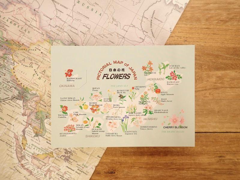 画像1: 【ネコポスOK】 PICTORIAL MAP of  JAPAN 日本の花 ポストカード