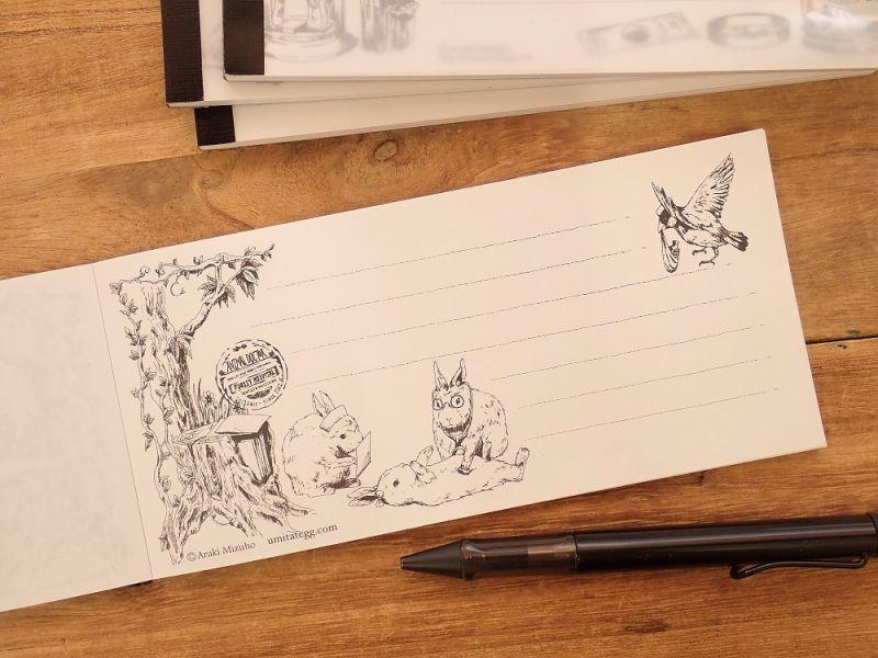 画像1: 【ネコポスOK】 生みたて卵屋 一筆箋 ウサギのお医者さん