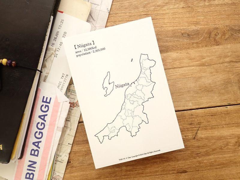 画像1: 【ネコポスOK】 旅屋オリジナル 白地図ポストカード NIIGATA/新潟