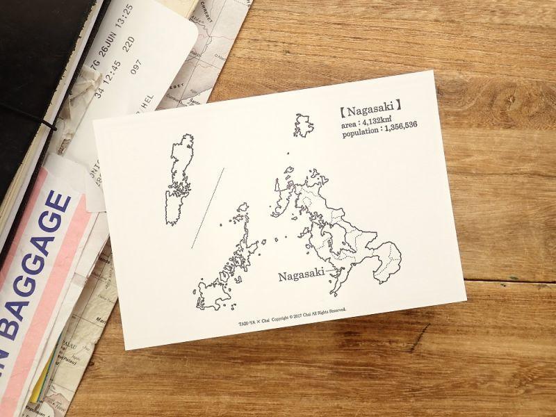 画像1: 【ネコポスOK】 旅屋オリジナル 白地図ポストカード NAGASAKI/長崎