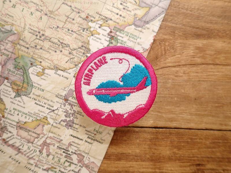 画像1: 【ネコポスOK】 ワッペン AIR PLANE ピンク