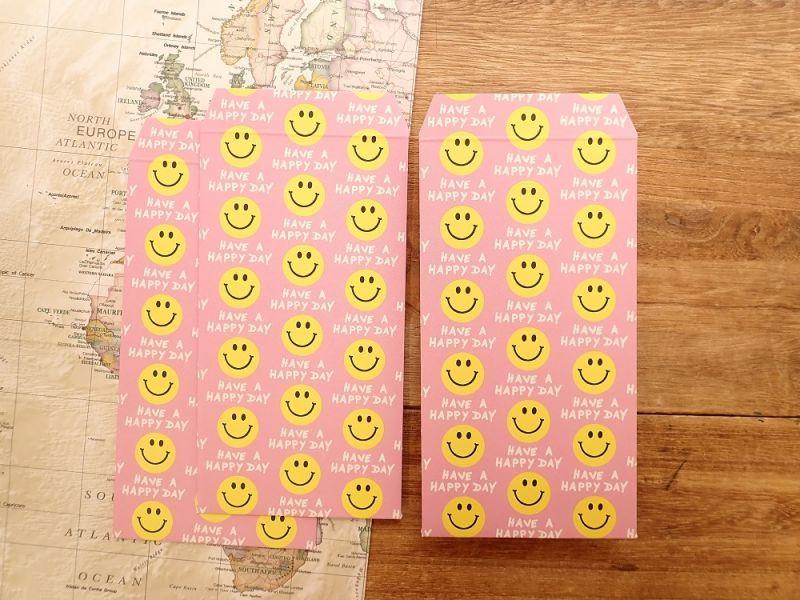 画像1: 【ネコポスOK】 ポチ袋L Smile Pink 3枚入り
