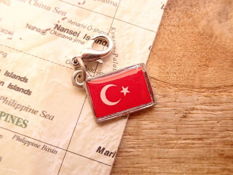画像1: 【ネコポスOK】 世界の国旗 チャーム [トルコ] 1個
