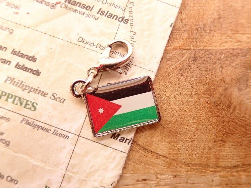 画像1: 【ネコポスOK】 世界の国旗 チャーム [ヨルダン] 1個