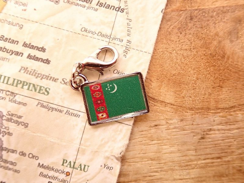 画像1: 【ネコポスOK】 世界の国旗 チャーム [トルクメニスタン] 1個