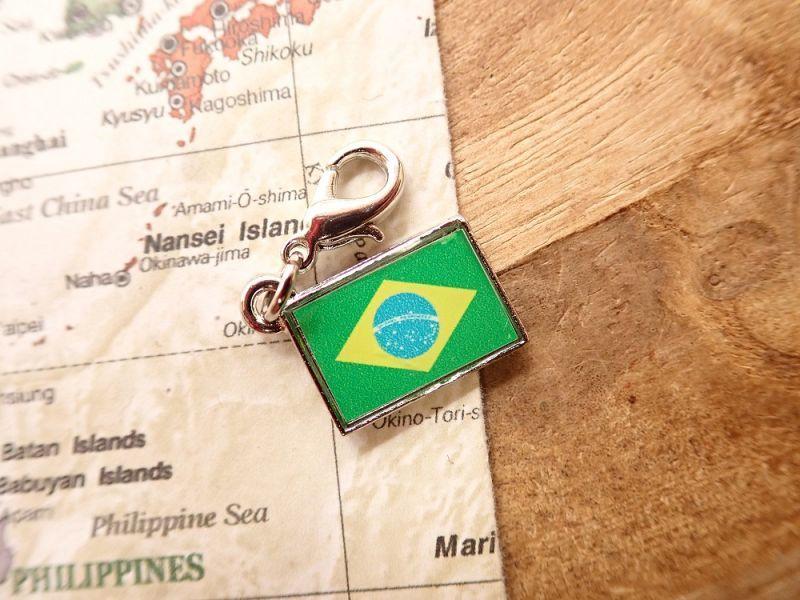 画像1: 【ネコポスOK】 世界の国旗 チャーム [ブラジル] 1個