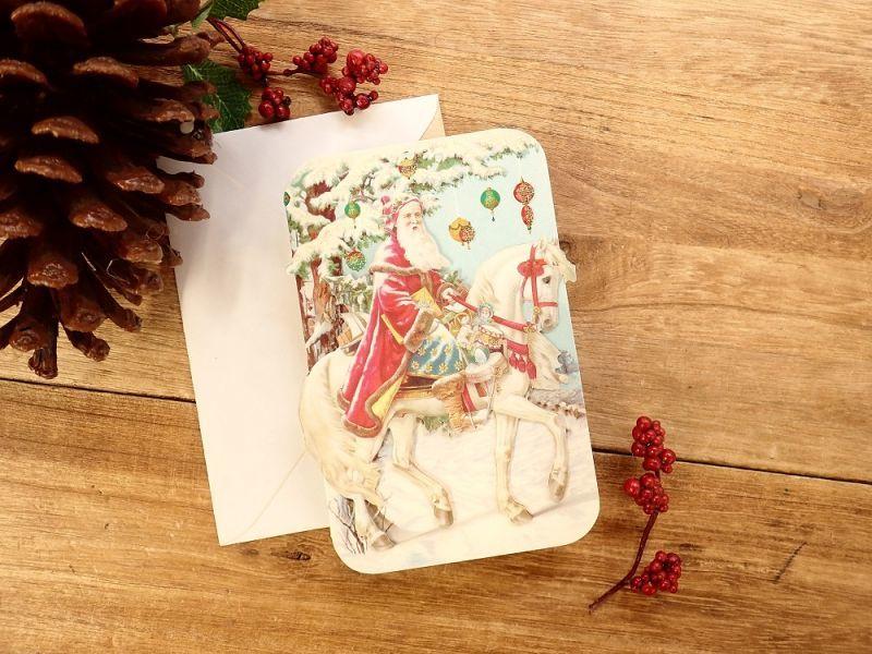 画像1: 【ネコポスOK】 アメリカ PUNCH STUDIO 立体 2つ折りスモールカード サンタ&ホース