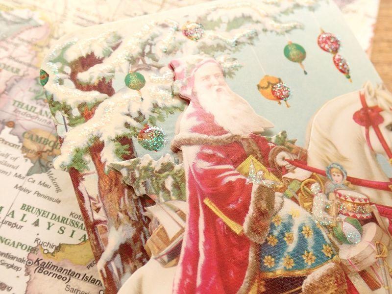 画像2: 【ネコポスOK】 アメリカ PUNCH STUDIO 立体 2つ折りスモールカード サンタ&ホース