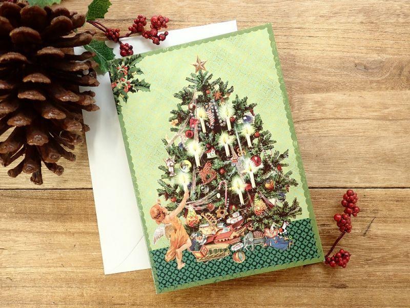画像1: 【ネコポスOK】 イギリス ROGER LA BORDE 2つ折りカード 天使×ツリー