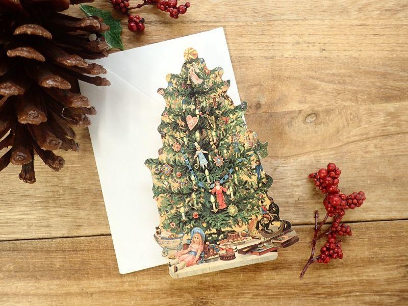画像1: 【ネコポスOK】 アメリカ PUNCH STUDIO 2つ折りスモールカード クリスマスツリー