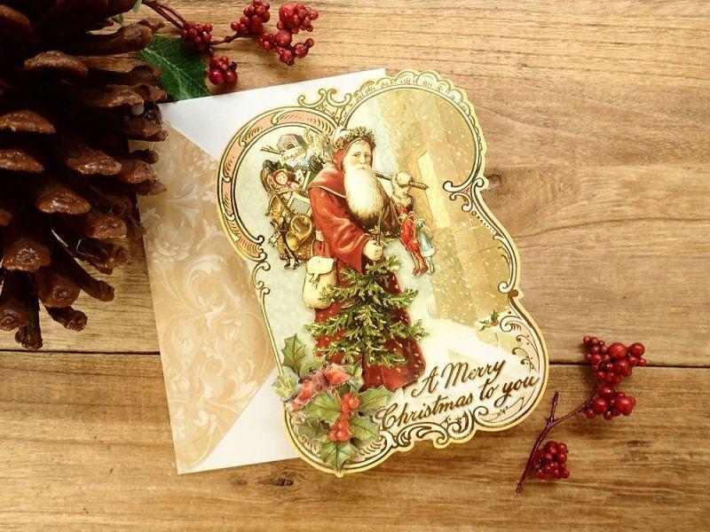 画像1: 【ネコポスOK】 アメリカ PUNCH STUDIO 立体 2つ折りスモールカード サンタ&もみの木