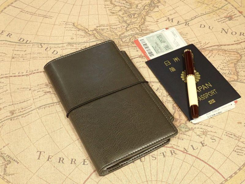 画像1: 【ネコポスOK】 PASSPORT NOTEBOOK COVER/パスポート ノートカバー グレー