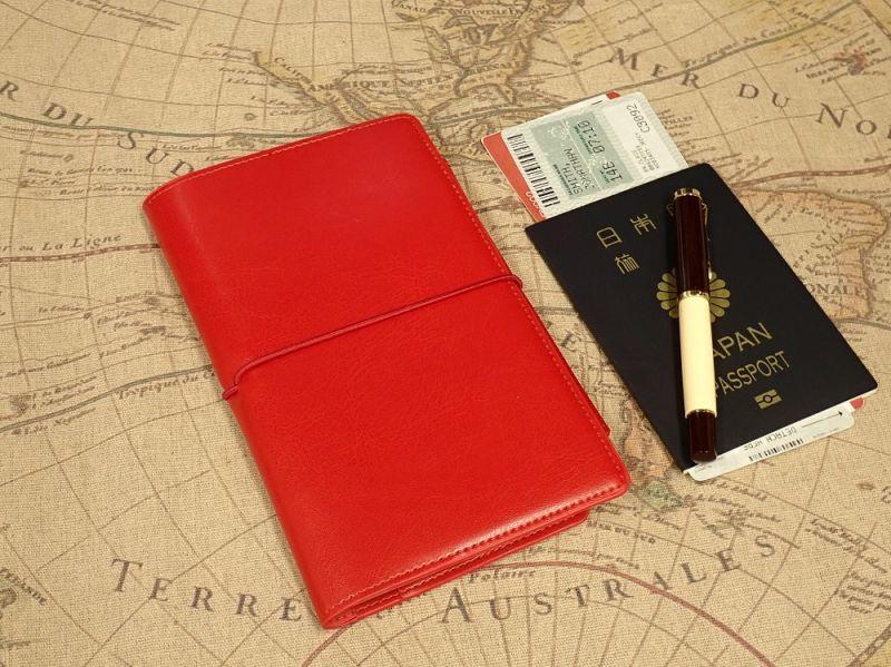 画像1: 【ネコポスOK】 PASSPORT NOTEBOOK COVER/パスポート ノートカバー レッド