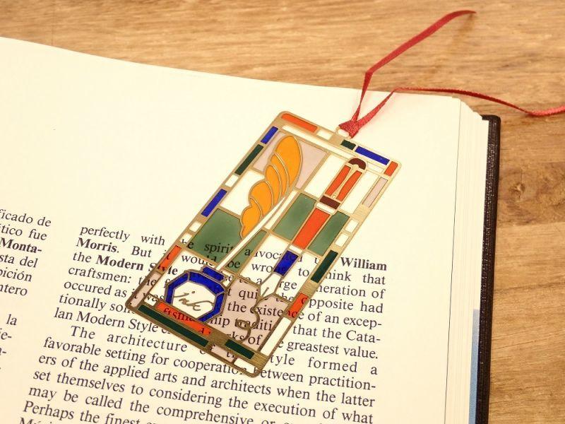 画像1: 【ネコポスOK】 ステンドグラス風 ブックマーク 羽ペン