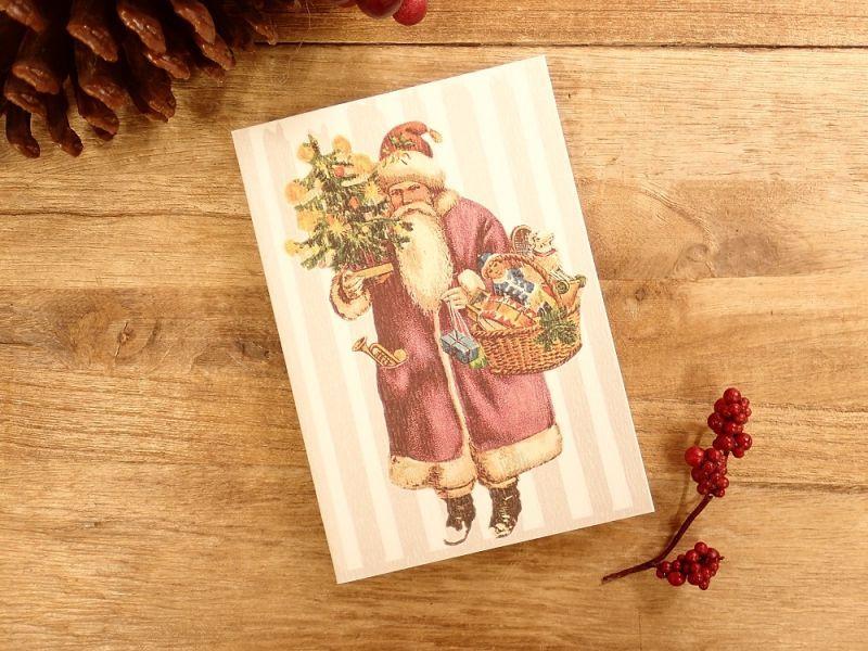 画像1: 【ネコポスOK】   ドイツ Hannelore/ハンネローレ グリーティングカード(4つ折り) Santa Pink