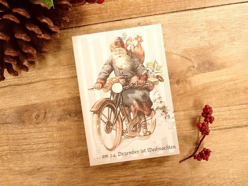 画像1: 【ネコポスOK】   ドイツ Hannelore/ハンネローレ グリーティングカード(4つ折り) Santa Motorcycle