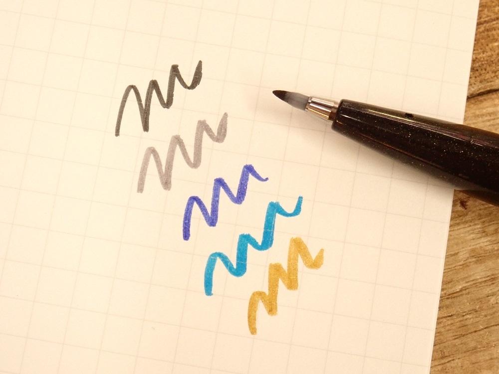 画像2: 【ネコポス△】 ぺんてる 筆 touch サインペン 5色セット 青系