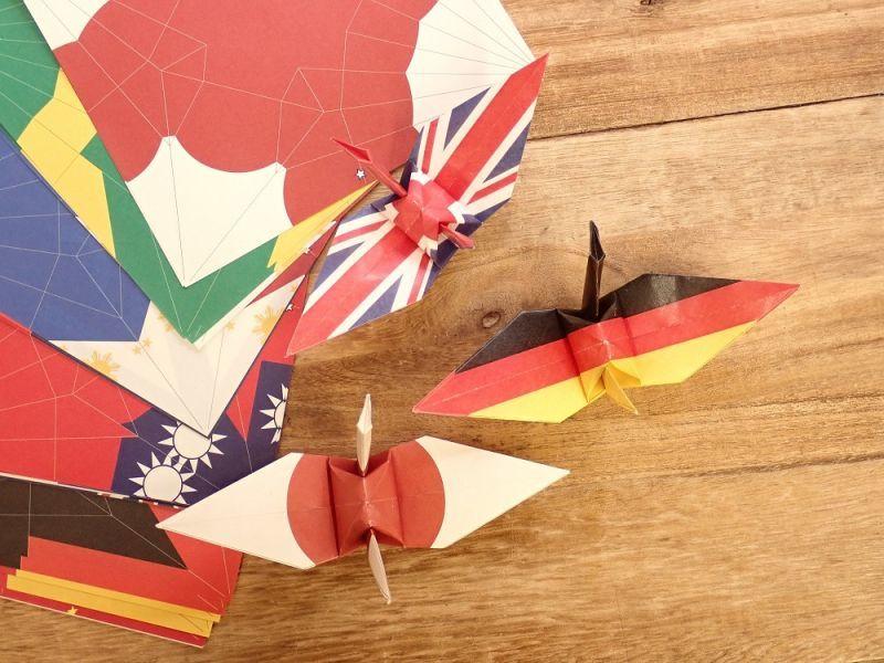 画像1: 【ネコポスOK】 おりがみ おりづる flag design 48枚入り