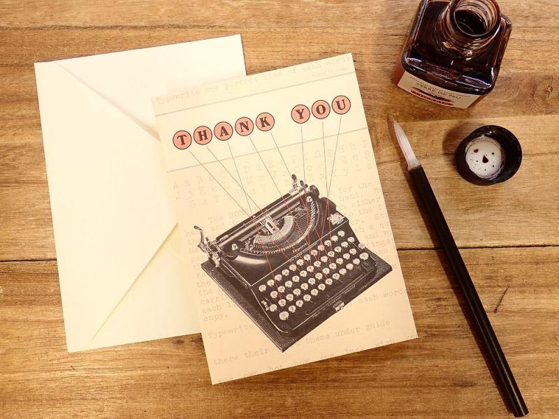 画像1: 【ネコポスOK】 アメリカ CAVALLINI/カバリーニ グリーティングカード(2つ折り) Vintage typewriter