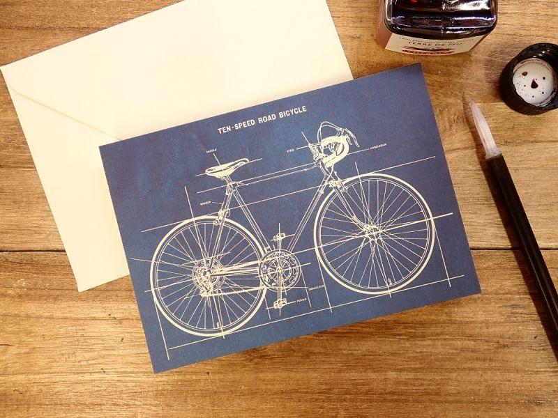 画像1: 【ネコポスOK】 アメリカ CAVALLINI/カバリーニ グリーティングカード(2つ折り) Bicycle