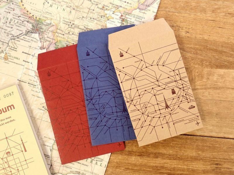 画像1: 【ネコポスOK】 Kumpel ポチ袋 路線図 カラー