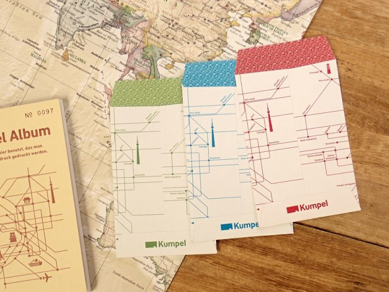 画像2: 【ネコポスOK】 Kumpel ポチ袋 路線図 ホワイト