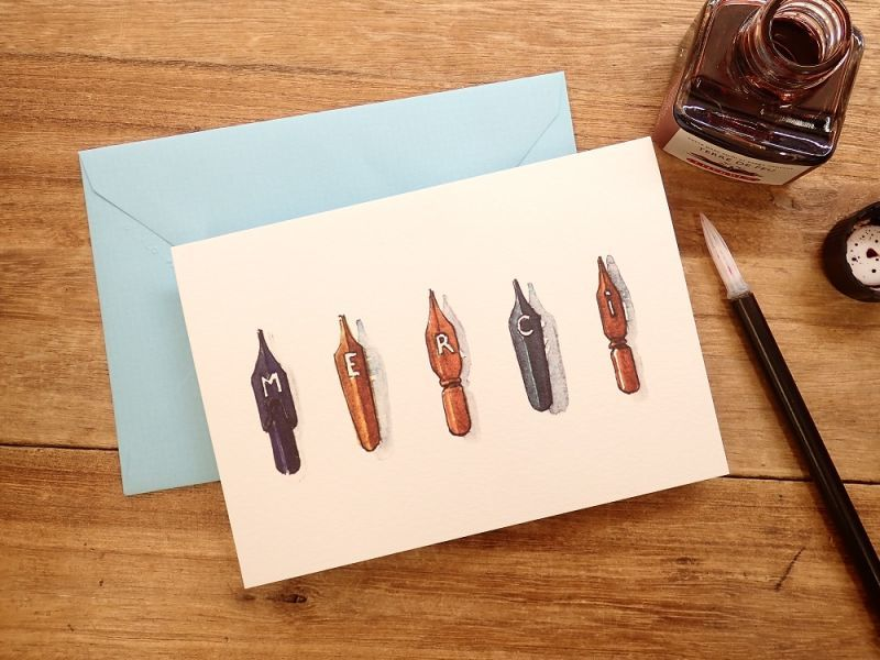 画像1: 【ネコポスOK】 フランス G.LALO アンクル&プリュム カード封筒セット ペン先