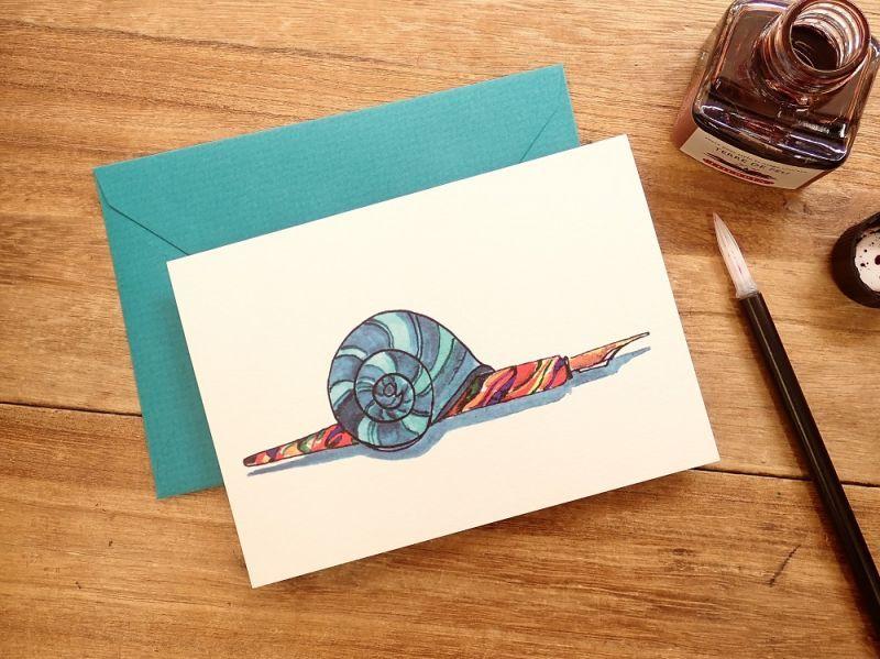 画像1: 【ネコポスOK】 フランス G.LALO アンクル&プリュム カード封筒セット カタツムリ