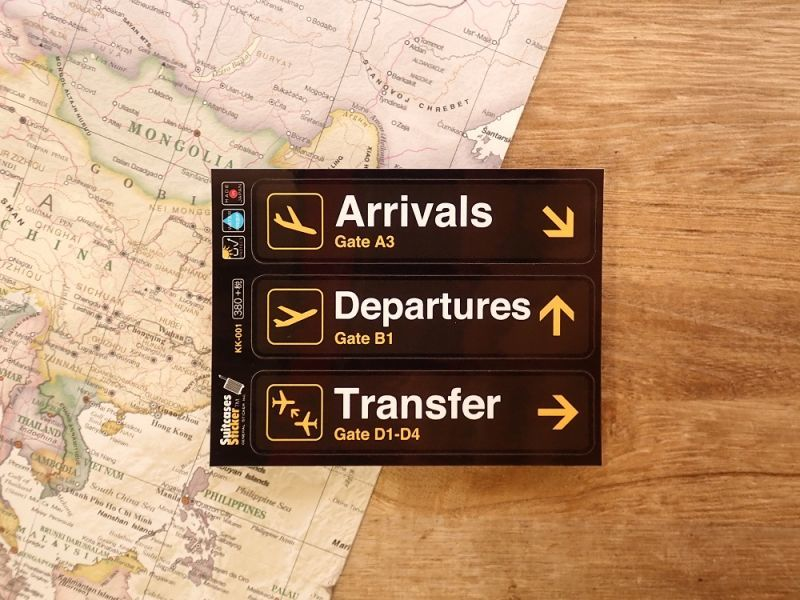 画像1: 【ネコポスOK】 空港ゲートサインステッカー Arrivals/Departures/Transfer