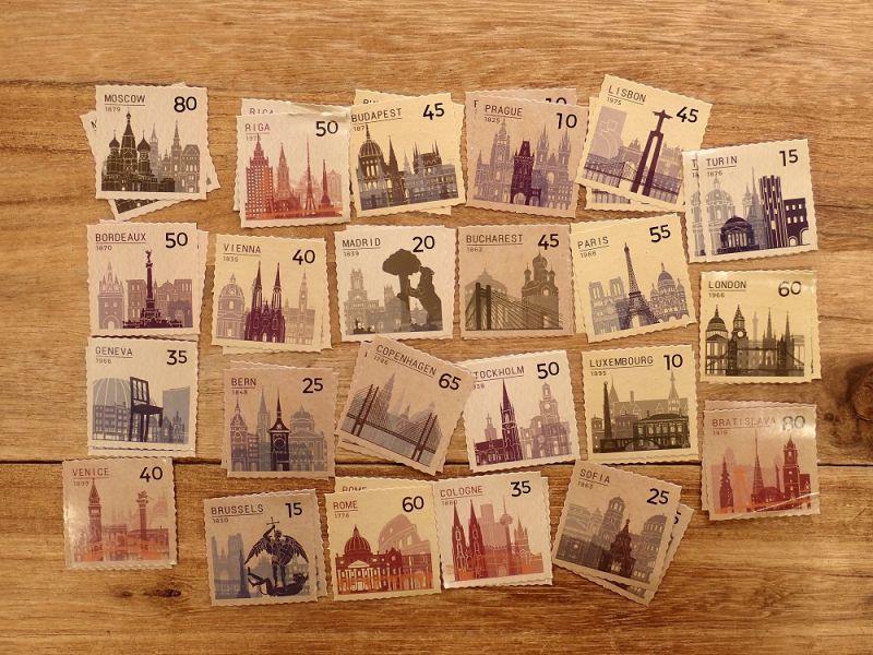 画像2: 【ネコポスOK】 MO・CARD ステッカー 列国邮票集 46枚入り