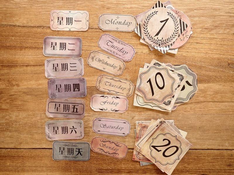 画像2: 【ネコポスOK】 MO・CARD ステッカー 复古日付 45枚入り