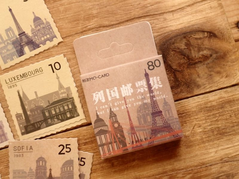 画像1: 【ネコポスOK】 MO・CARD ステッカー 列国邮票集 46枚入り
