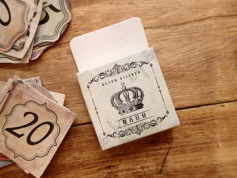 画像1: 【ネコポスOK】 MO・CARD ステッカー 复古日付 45枚入り