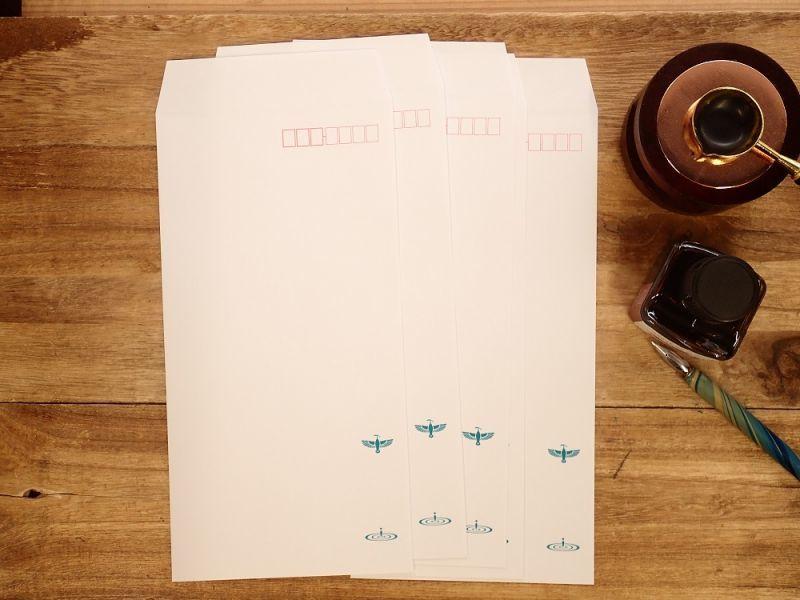 画像1: 【ネコポスOK】 飾り原稿用紙封筒 長3 碧翡翠 5枚入り