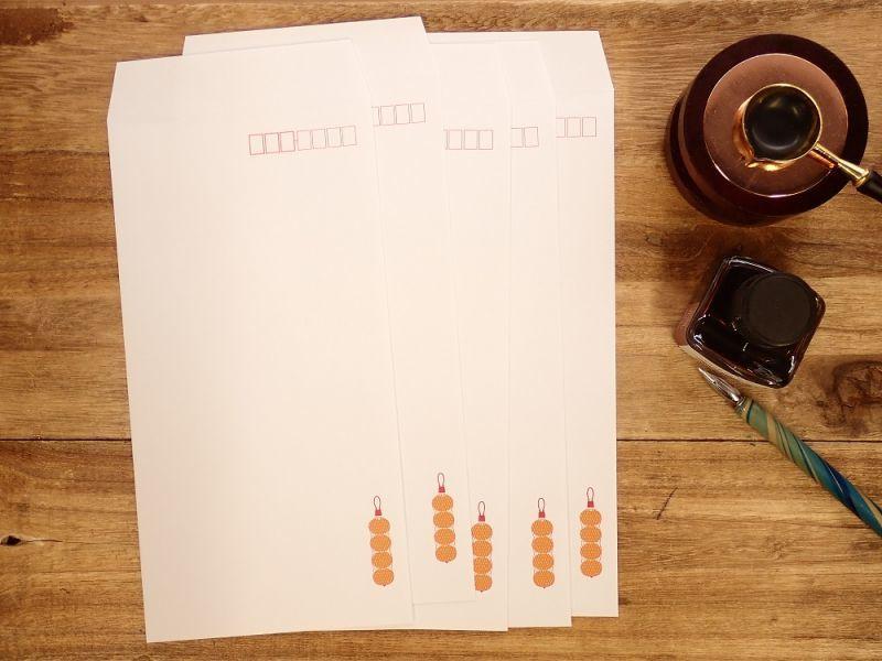 画像1: 【ネコポスOK】 飾り原稿用紙封筒 長3 蜜柑網 5枚入り