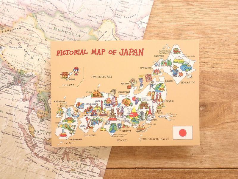 画像1: 【ネコポスOK】 PICTORIAL MAP of  JAPAN ポストカード
