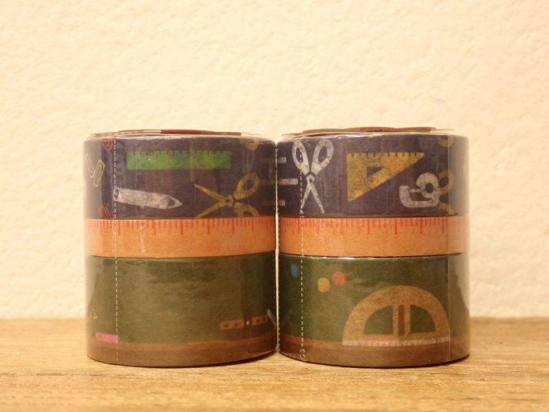 画像1: 【ネコポスNG】 マスキングテープ 3巻セット がっこう