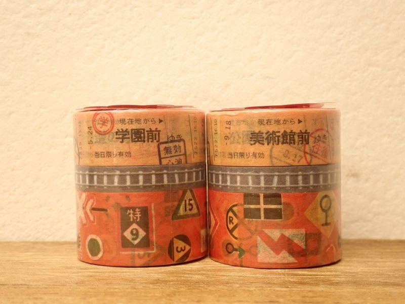 画像1: 【ネコポスNG】 マスキングテープ 3巻セット でんしゃ