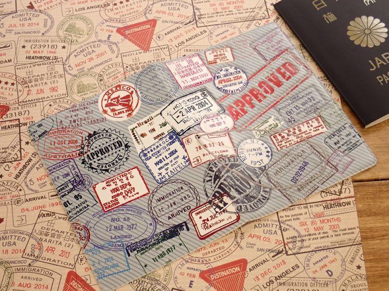 画像2: 【ネコポスOK】 パスポートカバー 出入国スタンプ
