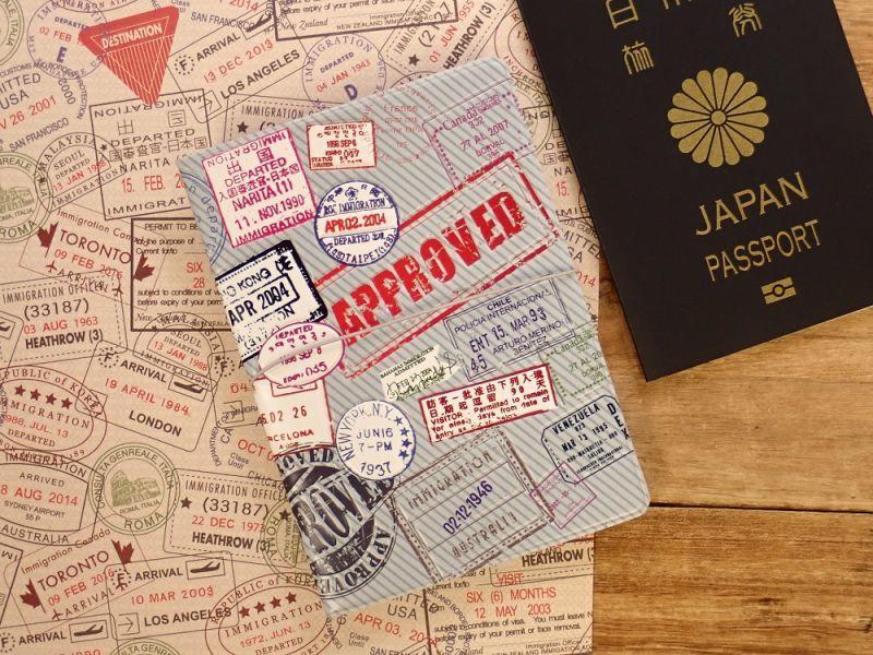 画像1: 【ネコポスOK】 パスポートカバー 出入国スタンプ