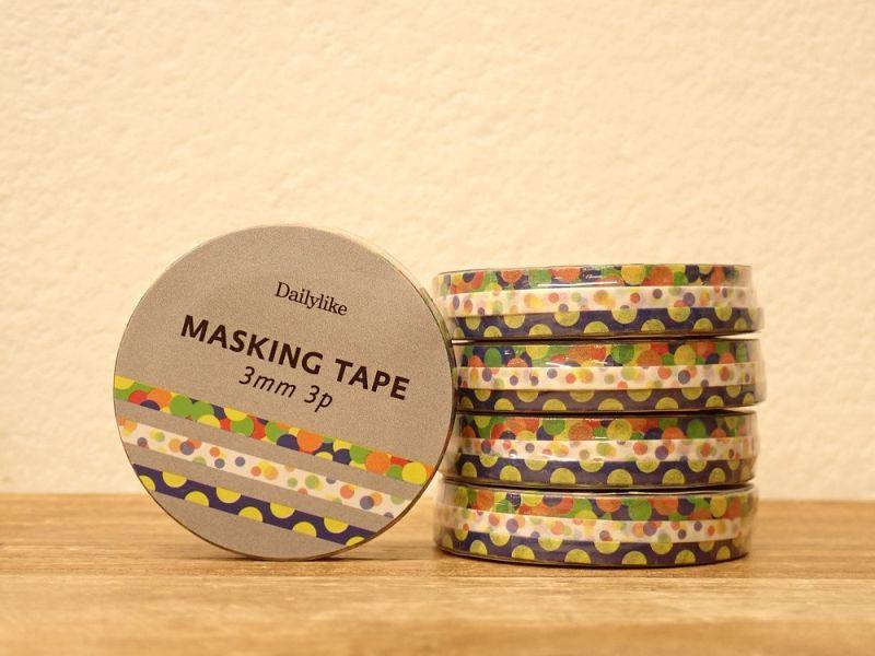 画像1: 【ネコポスOK】 decollections/デコレクションズ マスキングテープ 3個セット Ball