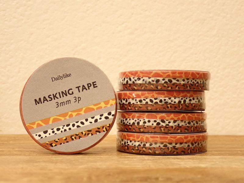 画像1: 【ネコポスOK】 decollections/デコレクションズ マスキングテープ 3個セット Animal