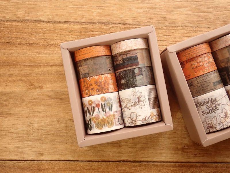 画像1: 【ネコポスNG】 和紙テープ オレンジ系