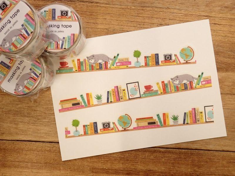 画像2: 【ネコポスOK】 ダイカットマスキングテープ 本棚