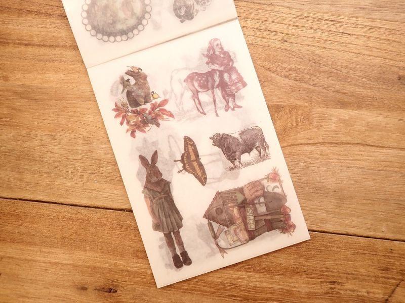 画像2: 【ネコポスOK】 和紙ステッカー ダイカット Animal world