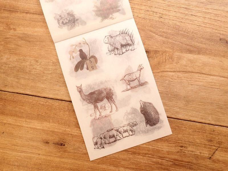 画像4: 【ネコポスOK】 和紙ステッカー ダイカット Animal world