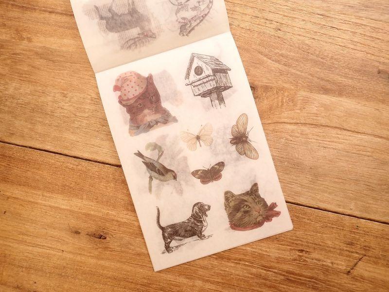 画像5: 【ネコポスOK】 和紙ステッカー ダイカット Animal world