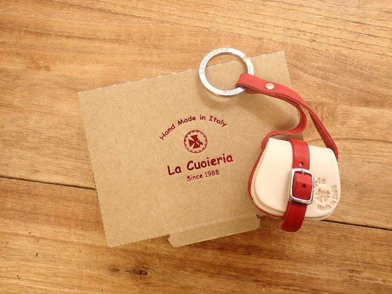 画像2: 【ネコポスNG】 イタリア La Cuoieria/ラ クオイエリア レザーキーホルダー FIBBIA_BAG/ショルダー ホワイト