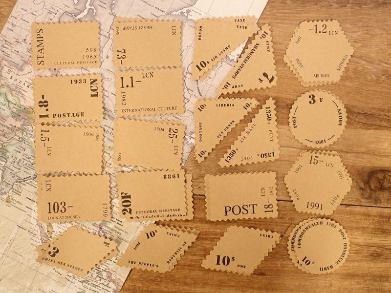 画像1: 【ネコポスOK】 クラフトシール  レトロ 切手