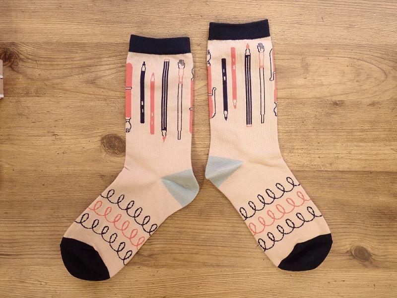 画像1: 【ネコポスOK】 garapago socks 靴下 Stationery